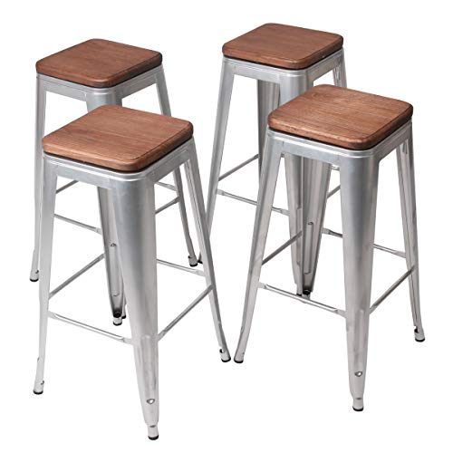 YongQiang Set of 4 Swivel Metal Barstools Home Kitchen Dining Chair Counter Stool Cafe Side Chairs with Wood Seat 30