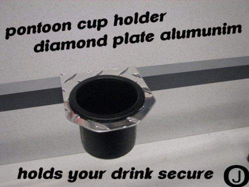 Diamond Plate Cup Holder Fits 1 1/4 Inch Pontoon Boat Rails, fits trucks, Etc.