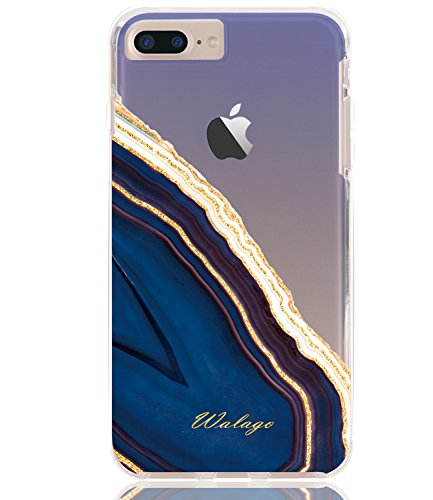 (iPhone 7 Plus Case, Walago Hybrid Shockproof Clear Cover with Glitter Agate Crystal Design Armor Hard PC Back Flexible TPU Frame Transparent Bumper for iPhone 7 Plus / 8 Plus (Gold Glitter/Blue))