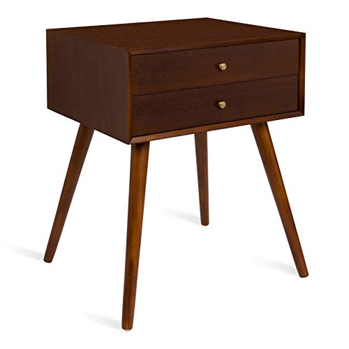 Kate and Laurel Finco Midcentury Modern Style Side Table with 2 Drawers, Walnut Brown Finish with Brass Hardware