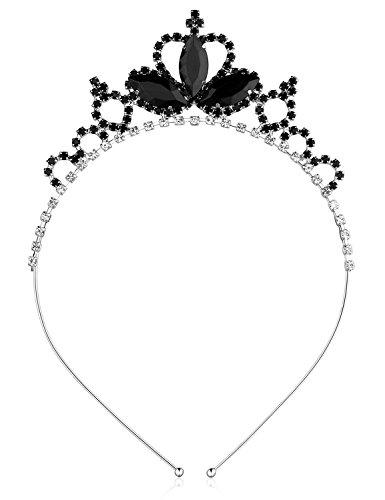 Black Swan Tiara (BABEYOND Crystal Rhinestone Toddler Headbands Black Swan Hairband Princess Headband Tiaras Crowns Headpiece For Kids Girls (Black))