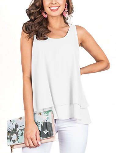 Floral Find Women's Chiffon Layered Tank Tops Summer Sleeveless Round Neck Blouses Shirts by Floral Find