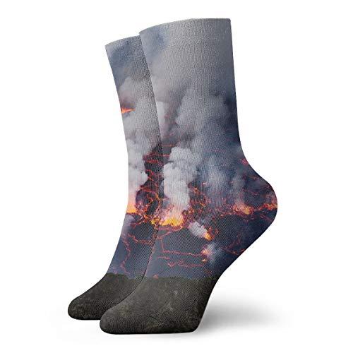 BINGZHAO Lava Lake Casual Crew Socks,Thin Socks Short Ankle for Outdoor,Running,Athletic,Travel
