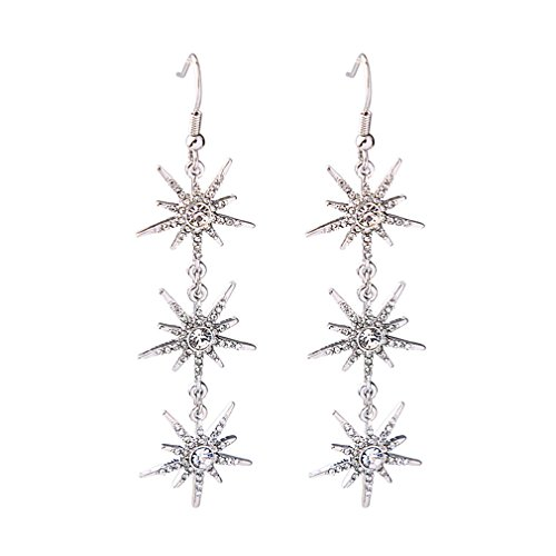 Snowflake Gold Drop Dangle Earrings with Crystal Wedding Women's Jewelry (Crystal Star Dangle Earrings)