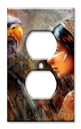 Art Plates Brand Electrical Outlet Cover Wall/Switch Plate - Indian Woman and Eagle