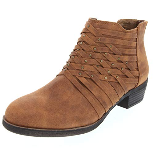 Rampage Women's Tami Woven Strappy Ankle Bootie Boot, Cognac