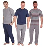 INSIGNIA Mens Pyjamas Set Short Sleeve Top & Long Bottoms Pants Summer (1 or 3 Pack) (X-Large, 3 Pack Deal 1)