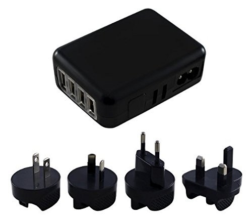Xcessor International Universal 4 Port USB Travel Charger. Input 100-240V. Four USB Ports + Four Exchangeable Wall Plugs for Europe, USA, United Kingdom and Australia (EU US UK AU). Black (Supply Power Ericsson Universal)