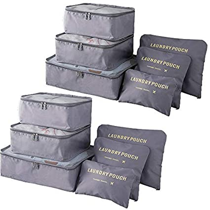 e0ab2be60257 Packing Cubes (2 Sets /12 Pieces) Luggage Organizers/ Laundry Bags|  JuneBugz Travel Accessory for Suitcases, Carry-on,Back Packs,Organize ...