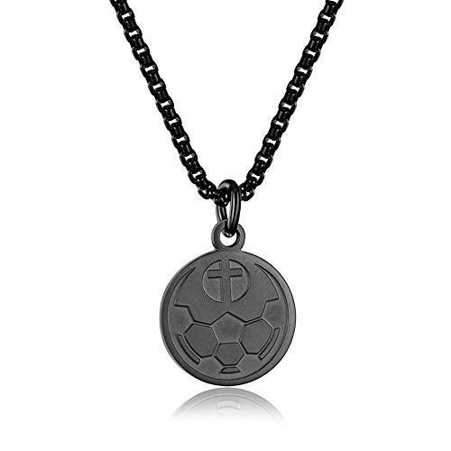 INRENG Athletes Sports Cross Pendant Necklace for Men Women Faith Prayer Inspiring Luke 1:37 Bible Verse on Back Soccer Charm Black 1 -