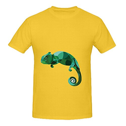 Lizard Cartoon Mens Crew Neck Casual T Shirts Yellow
