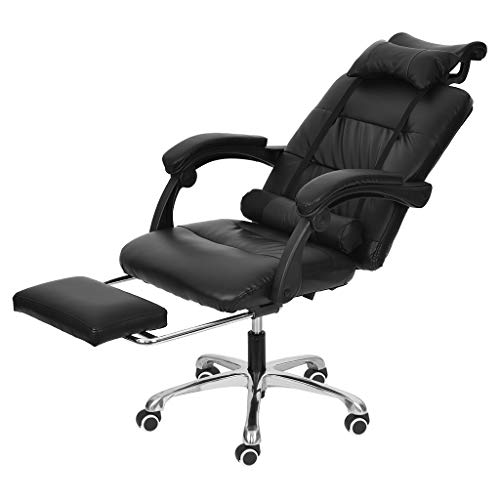 Barcley Gaming Chair PC Computer Chair with Footrest Ergonomic Video Game Chair High Back Racing Gamer Chair Reclining Leather Office Chair with Headrest and Lumbar Support (Black)