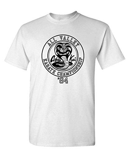 Cobra Kai Karate Championship - 80's Movie - Mens Cotton T-Shirt, L, White ()
