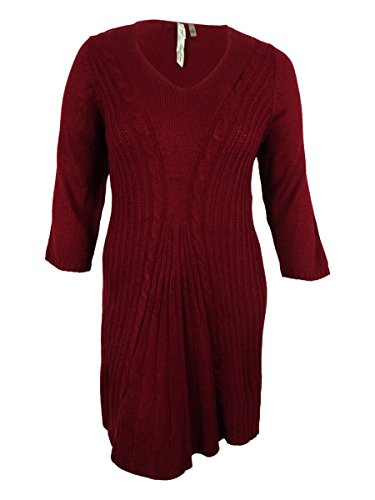 NY Collection Women's 3/4 Sleeves V-Neck Cable Knit Dress (3X, Red)