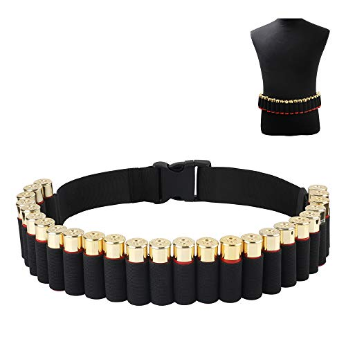 CS Force Shotgun Shell Bandolier Belt 12/20 Gauge Ammo Holder for Tactical Military Hunting(29 Rounds, 51.2'' x 1.98'')