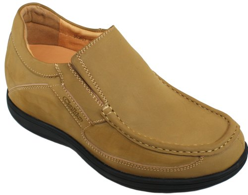 CALTO - G07011 - 3.2 Inches Taller - Size 6 D US - Height Increasing Elevator Shoes (Nubuck Brown Leather Lace-less Design Super Lightweight Boat Style Casual (Light Brown Nubuck Leather)