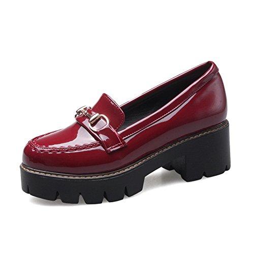 Balamasa Kvinnor Tjock Klackar Plattformslättvikts Uretan Oxfords Shoes Red