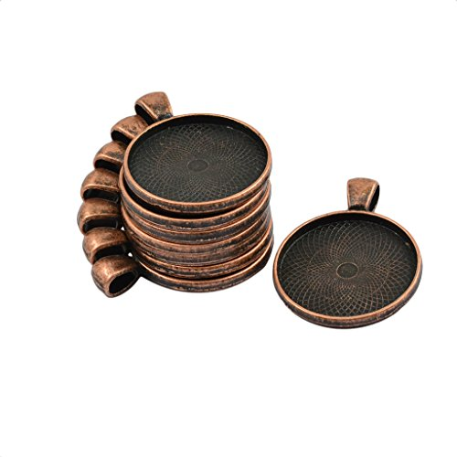 (Jili Online 50 Pieces Circle Pendant Blank Tray Cabochon Settings 35x25 mm Empty Pendant Fit Necklace Jewelry - Antique Copper)