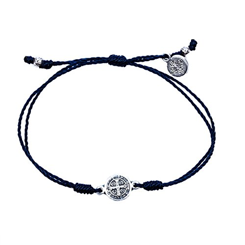Woven Cord - My Saint My Hero Breathe Blessing Bracelet - Silver-Plated Medal on Navy Hand-Woven Cord