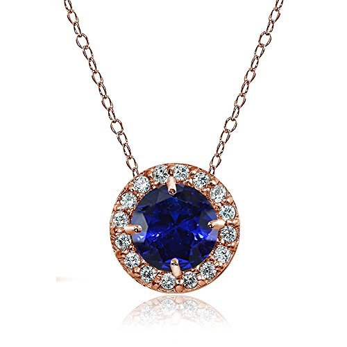 Ice Gems Rose Gold Flashed Sterling Silver Created Blue Sapphire and Cubic Zirconia Accents Round Halo Necklace ()