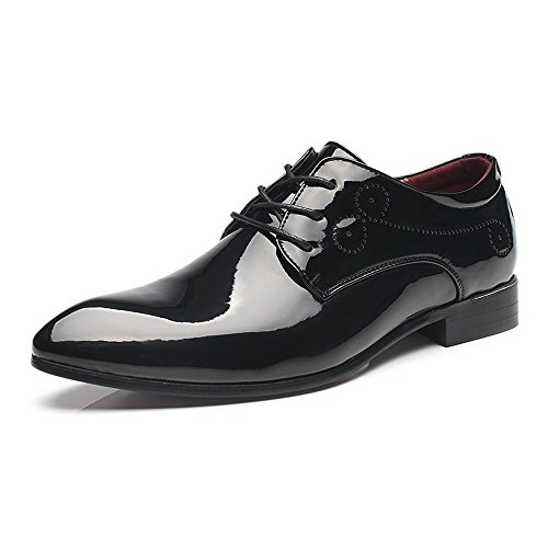 ashion Men's Burnished Smooth PU Leather Shoes Classic Lace Up Business Tuxedo Oxfords (Color : Black, Size : 11MUS) ()