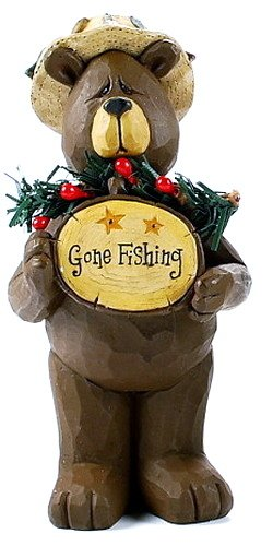 Blossom Bucket Funny Brown Bear in Hat w/ Gone Fishing Sign Resin Figurine
