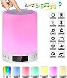VANFLY Luz Nocturna Recargable, Lámpara de mesa táctil inteligente con Altavoz Bluetooth inalámbrico, Reloj Despertador Digital, con Llamada de Manos Libres Bluetooth, TF Tarjeta Juega, AUX-in Apoyado, Regulable Blanco Cálido(tres intensidades) y RGB Color-Cambiante(7 Color) Ideal para Cabecera, Habitación de Bebés y Camping