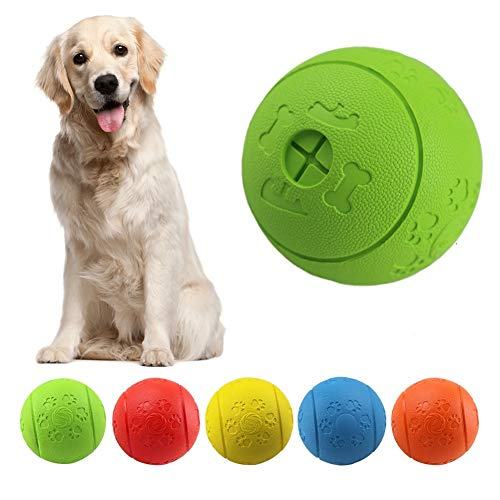 MEKEET Hundeball Snackball Hundespielzeug Ball, Leckerli Spielzeug Ball aus Gummi ungiftig bissfest Spielzeug Ball für…