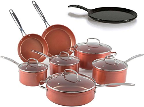 "Nuwave 12 pc. Duralon Cookware Set with 10.5"" Cast Iron Porcelain Coated Griddle"