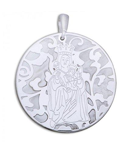 Médaille Vierge Victoria Nacre et Argent de Loi 40mm