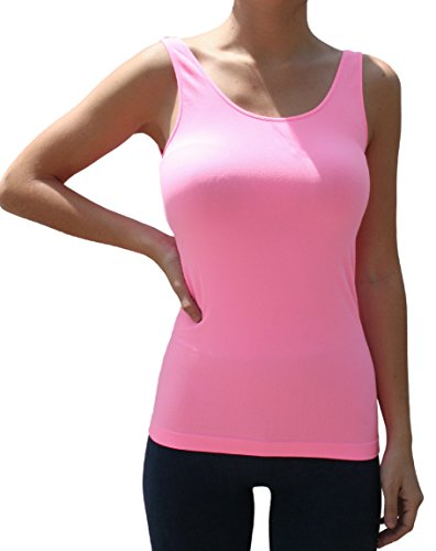 Blue 55 Women's Seamless Smooth Thick Strap Long Jersey Tank Top (Bubblegum) (Bubbles Strap Top)