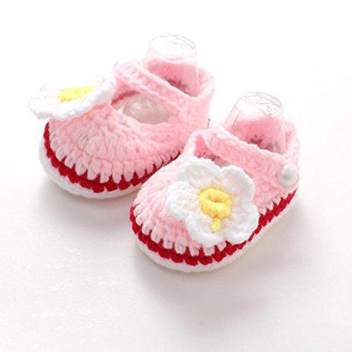 Roses Infant Shoes,Kimanli Crib Crochet Casual Baby Girls Handmade Knit Sock (pink)