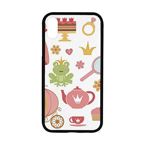 (Kids Decor Rubber Phone Case,Princess Tiara Tea Party Mirror Teapot Tea Party Frog Crown Fairy Cupcake Girls Decorative Compatible with iPhone XR)