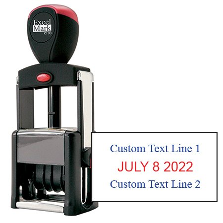 Date Stamp Self Inking Heavy Duty - ExcelMark (R100 Red & Blue (Custom Rubber Stamp Blue Ink)