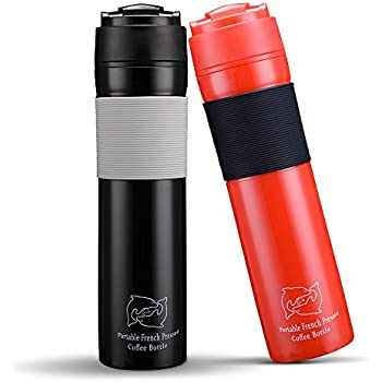 Amazon.com: BRBHOM Set of 2 Portable Travel French Press Coffee Mug and Tea Black Red for Couple(Black/Red): Kitchen & Dining