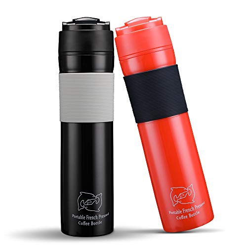 (BRBHOM Set of 2 Portable Travel French Press Coffee Mug and Tea Black Red for Couple(Black/Red))