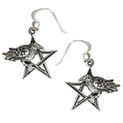 (Sterling Silver Crow Raven Pentagram Earrings)