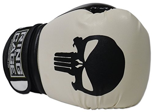 Ring to Cage Gym Training Stand-Up Boxing Gloves Skull (Punisher) (Large-16oz)