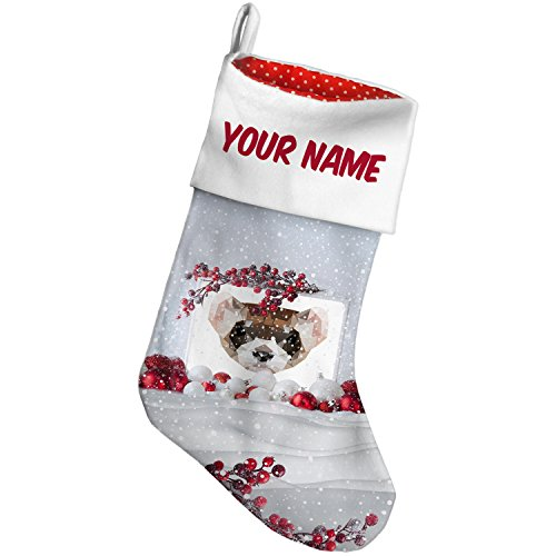 Christmas Stocking Geometric Animal art Ferret Snow Berry NEONBLOND