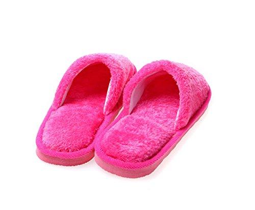 modakeusu orgánico Terry paño de algodón Spa Zapatillas de suave se adapta a la mayoría, caqui, 28cm/10.92inch rojo rosado