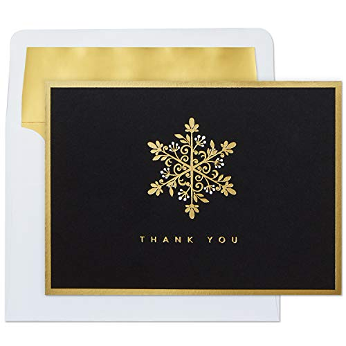 Hallmark Thank You Cards, Gold Snowflake (10 Cards with Envelopes)