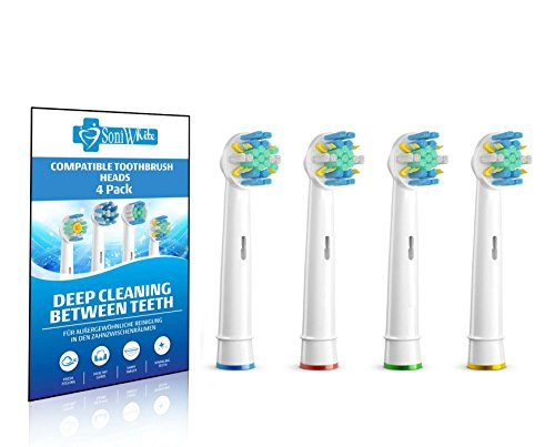 Premium Oral-B Floss Action Generic Replacement Toothbrush Heads, 4 Pack