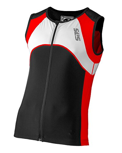SLS3 Triathlon Men`s FX Tri Top 3 Pockets Full Zipper Jersey - Singlet -Tank (Black/Red, M) - Aero Tri Top