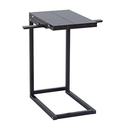 - Expandable Side End Tray Table Folding Top Laptop Coffee Holder Modern Furniture with Ebook