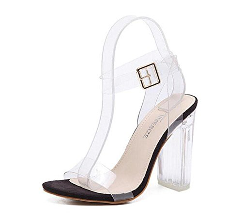 GLTER Mujeres Ankle Strap Bombas Tacones Altos Word Open-Toed Pasarela Show Crystal Shoes Transparente Thick Shoes Sandalias al aire libre black