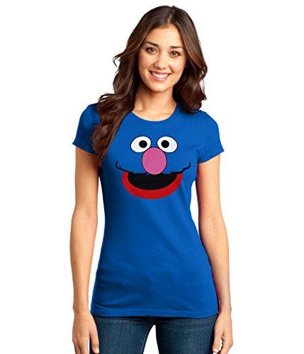 Face Juniors Tee - Sesame Street Grover Face Junior Women's T-Shirt-Junior Large [JL]