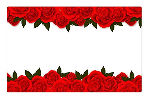 (Tree26 Indoor Floor Rug/Mat (23.6 x 15.7 Inch) - Roses Flowers Red Rose Banner Postcard for Web)