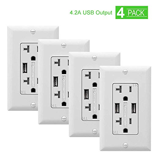 SZICT USB Wall Outlet 4 Pack, UL-listed 4.2A TR Ultra-fast USB Charging Receptacle 2 USB Ports Receptacle Charger, 20A Wall Receptacle Outlet with Wall Plate, White ()