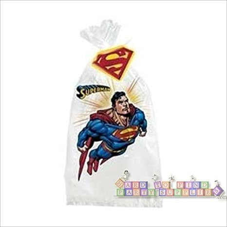 NEW 25 JUSTICE LEAGUE SUPERMAN LOOT CANDY BAGS PARTY FAVOR SUPPLIES CELLOPHANE
