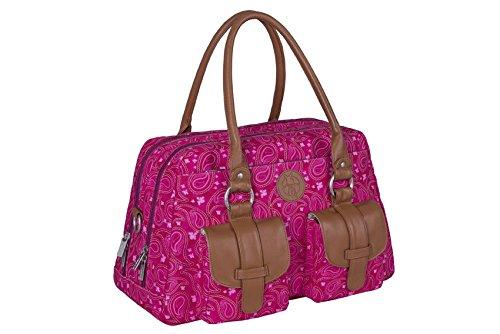 Lassig Vintage Metro Style Diaper Shoulder Bag Handbag Tote-Bag includes Matching Insulated Bottle Holder, wipeable Changing Mat, Stroller Hooks, Paisley Pink - Paisley Stroller Bag